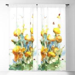 Watercolor yellow dandelion flowers Blackout Curtain