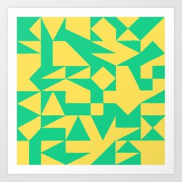 English Square (Yellow & Green) Art Print