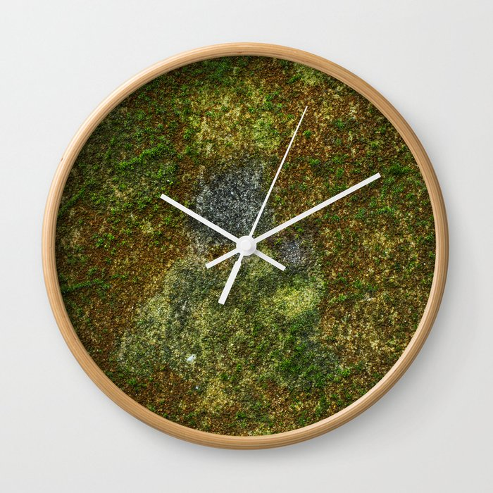 Old stone wall with moss Wall Clock