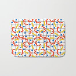 Primal - memphis throwback squiggle circle geometric grid lines dots trendy hipster 80s retro cool Bath Mat