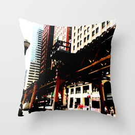 Chicago 'L' art print - Chicago L, Chicago EL - industrial urban photo - downtown Chicago CTA Throw Pillow