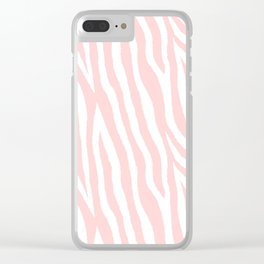 Pale pink zebra fur pattern 04 Clear iPhone Case