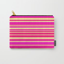 Bright hot pink and neon yellow horizontal linework Carry-All Pouch