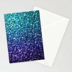 Beautiful Aqua blue Ombre glitter sparkles Stationery Cards