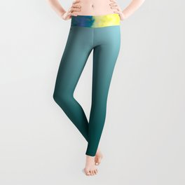 Teal Watercolor Om Leggings