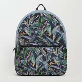 Leaves + Lines in Gold, Olive and Indigo Backpack