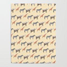 Animals, Elephant, Giraffe, Zebra, Zoo, Kids, Nursery, Minimal, Pattern, Modern art Poster