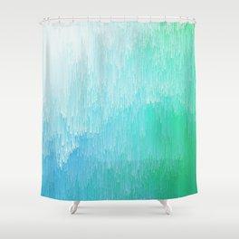 Rainforest - Blue & Green Glitch Shower Curtain