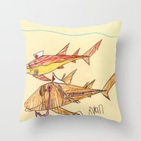 nurse Throw Pillows featuring Nurse Sharks by Ryan van Gogh