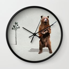 Bear with a shotgun Wall Clock