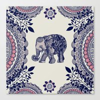 elephant Canvas Prints featuring Elephant Pink by rskinner1122