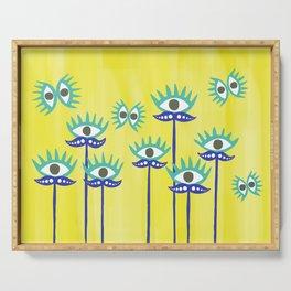 Evil Eye Nazar protective Garden Yellow Serving Tray