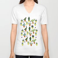 cacti V-neck T-shirts featuring Cacti by Alisse Ferrari