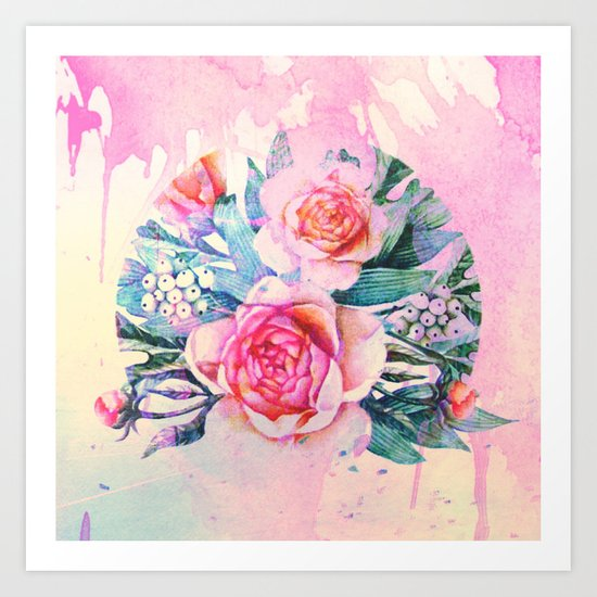 bouquet and watercolors Art Print