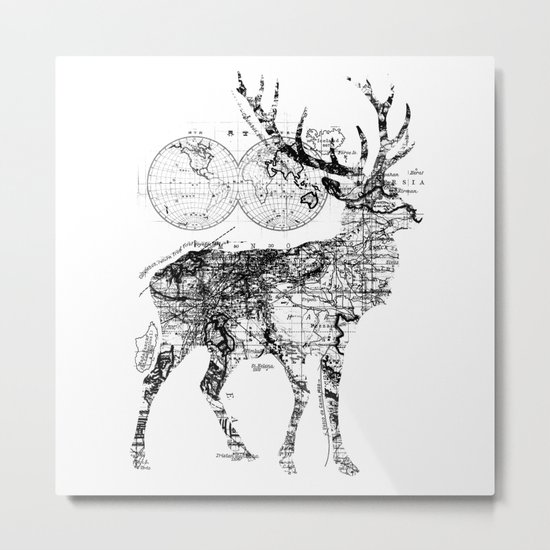 Deer Wanderlust Black and White Metal Print