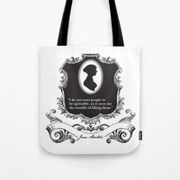jane austen Tote Bags featuring Jane Austen Snarky Quote by ArtSoElectric