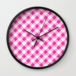 Heart Plaid Pattern Wall Clock