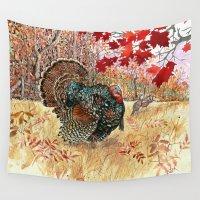 turkey Wall Tapestries featuring Woodland Turkey by Edith Jackson-Designs