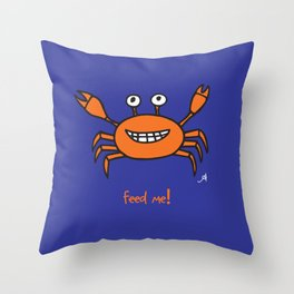 Mr and Mrs Cabby Amanya Design Blue Single FEED ME! Throw Pillow