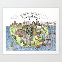 new york city Art Prints featuring New York City Love by Brooke Weeber
