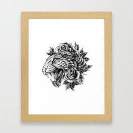 Ornate Leopard Black & White Variant Framed Art Print