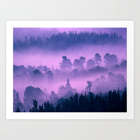 Blue forest in a pink fog Art Print