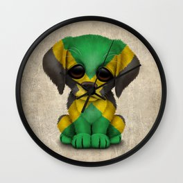 Cute Puppy Dog with flag of Jamaica Wall Clock