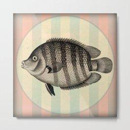 Big Fish on Stripes Metal Print