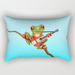 Tree Frog Playing Acoustic Guitar with Flag of Austria Rectangular Pillow