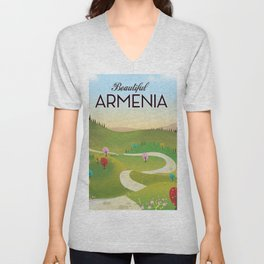Armenia Travel poster. Unisex V-Neck