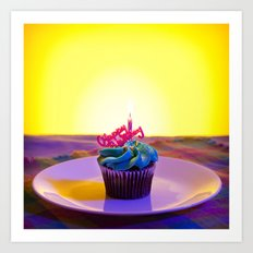 Happy Birthday Cupcake Art Print
