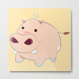 Happy Cartoon Baby Hippo Metal Print