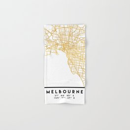 MELBOURNE AUSTRALIA CITY STREET MAP ART Hand & Bath Towel