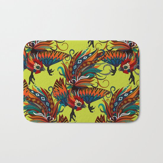 rooster ink chartreuse Bath Mat