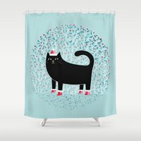 santa Shower Curtains featuring Santa Paws by littleclyde