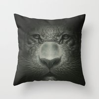tiger Throw Pillows featuring Tiger by Dr. Lukas Brezak