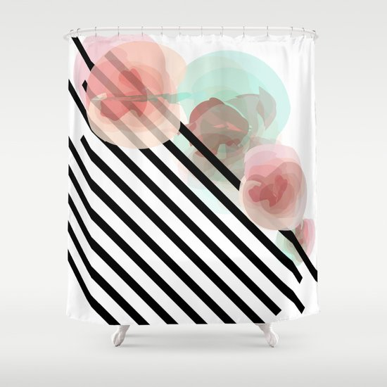 Watercolor Floral with Stripes Shower Curtain
