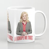 leslie knope Mugs featuring In Knope We Trust by Illuminany