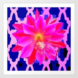 Fuchsia Orchid Cactus Blue Trellis Art Print