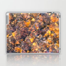 Clear Water Flows Over Golden Brown Pebbles Stream Abstract Laptop & iPad Skin