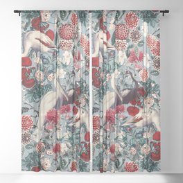 FLORAL AND BIRDS XIV Sheer Curtain