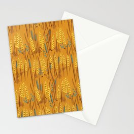 Pattern of Wheat Field Gold and Grey Stationery Cards