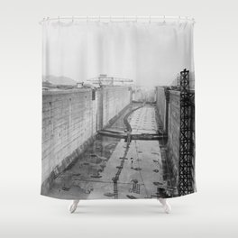 Panama Canal construction Shower Curtain