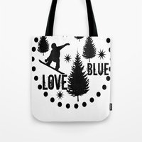 snowboard Tote Bags featuring Forest Snowboard Love Blue by Patti Friday