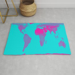 World Map : Gall Peters Turquoise & Pink Rug