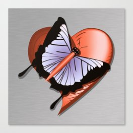 Beautiful butterfly and heart on polished metal textured background Canvas Print