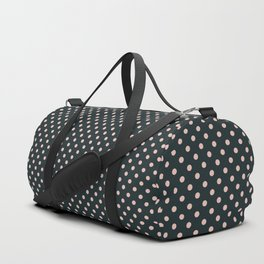 Small pink polka dots on a black background. Duffle Bag