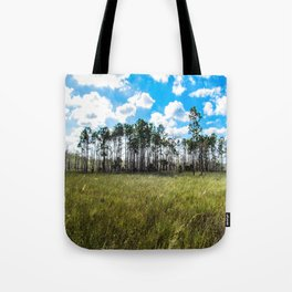 Cypress Trees and Blue Skies Tote Bag