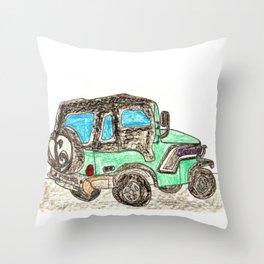 Jamie's Jeep Throw Pillow