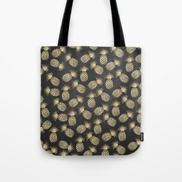 Modern chalk black elegant faux gold pineapple pattern Tote Bag